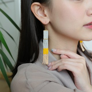 Beige-Yellow - Long Beaded Tassel Earrings
