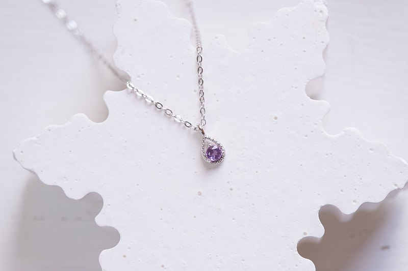Amethyst 925 Sterling Silver Elegant Small Water Drop Necklace