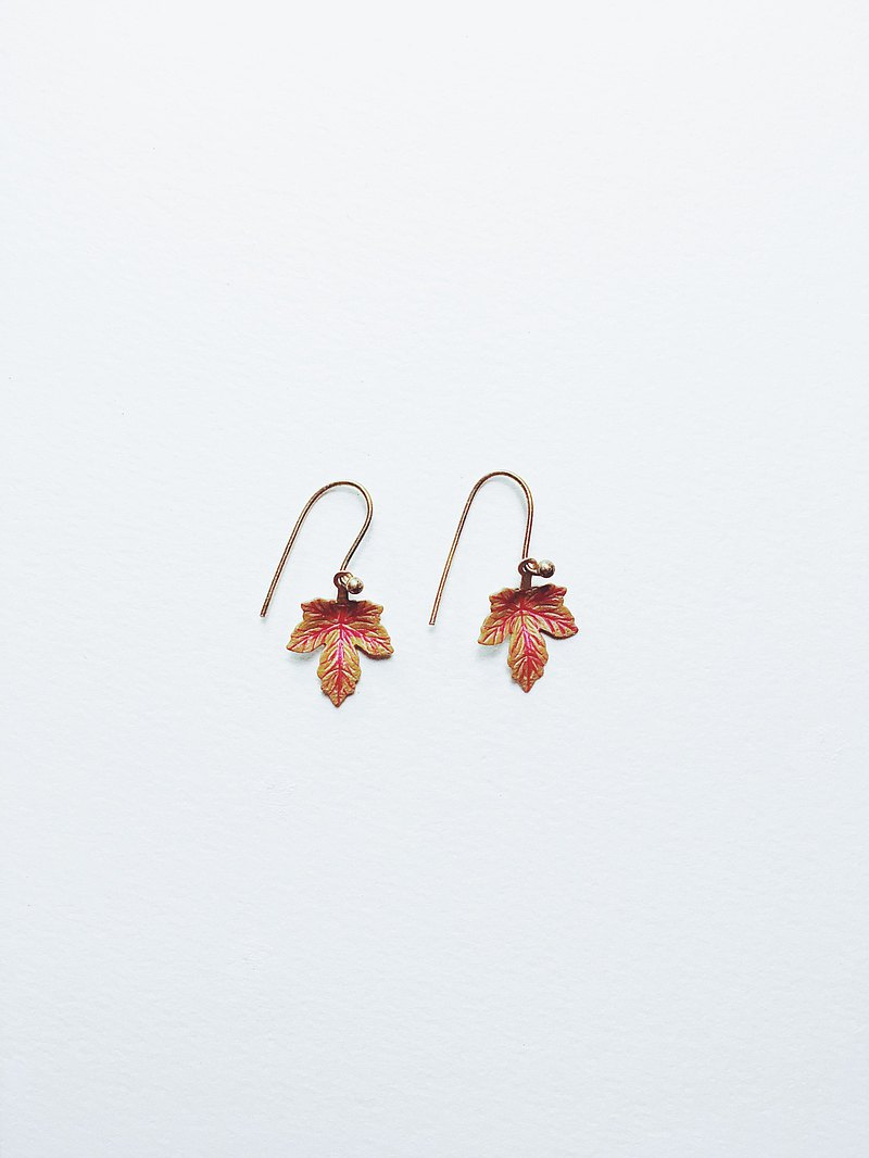 Hand Painted Earrings-Maple Leaf