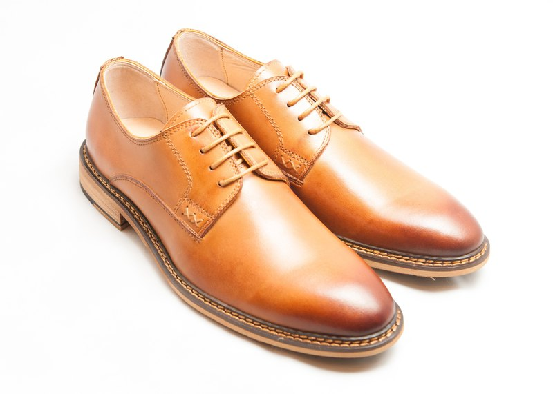 Hand-painted calfskin wooden heel plain derby shoes men's leather shoes-caramel-B1A15-80