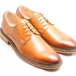 Hand-painted calfskin wood with plain derby shoes men's shoes leather shoes - caramel color - free shipping - B1A15-80