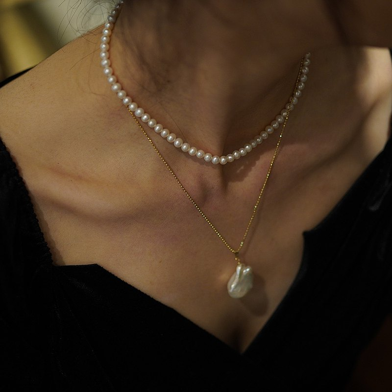 Freshwater pearl clavicle chain special-shaped pearl sterling silver necklace