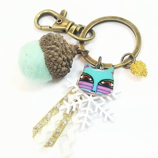 Paris * Le Bonheun. Happy forest. Painted cats. Wool felt acorn. Pine cone key ring strap. Christmas gift