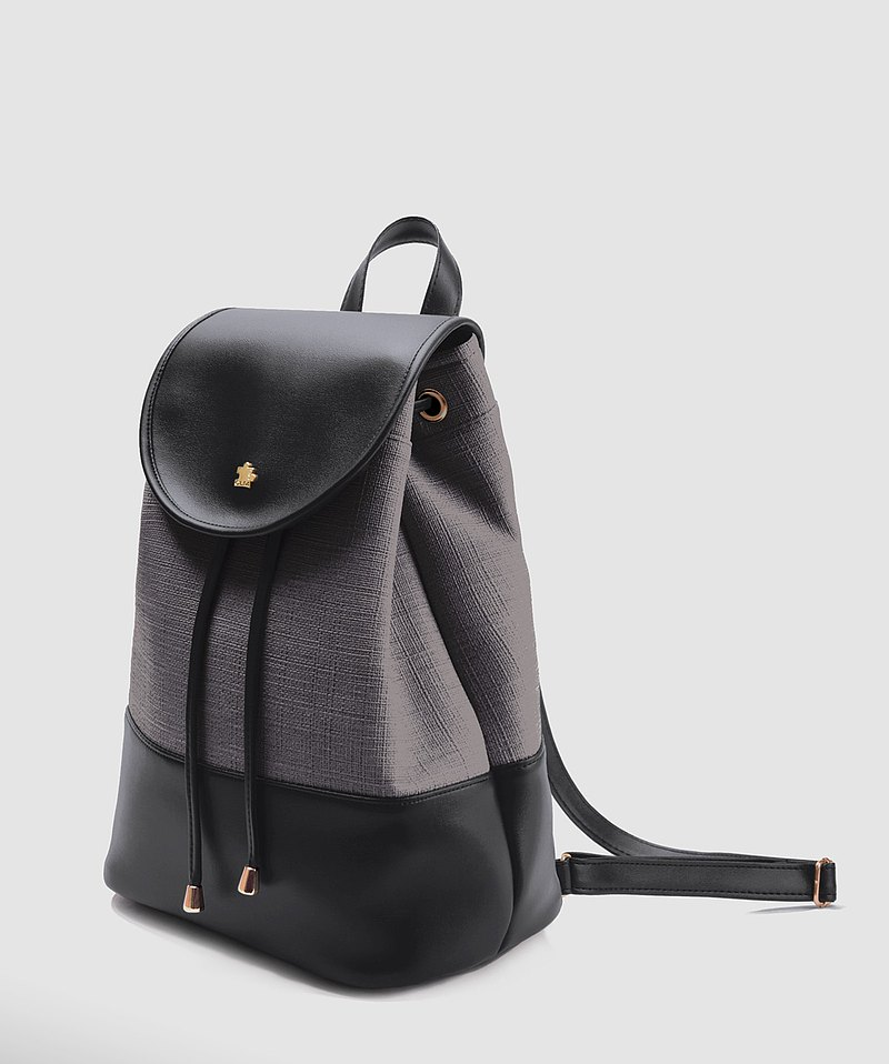 [CLM] Vegan Leather/Made in Taiwan/Burgundy Backpack_Grey Black