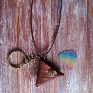 Guitar shrapnel PICK leather necklace key ring holster leather color brown Kai handmade leather