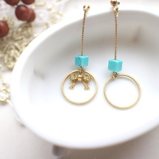 Turquoise brass earrings