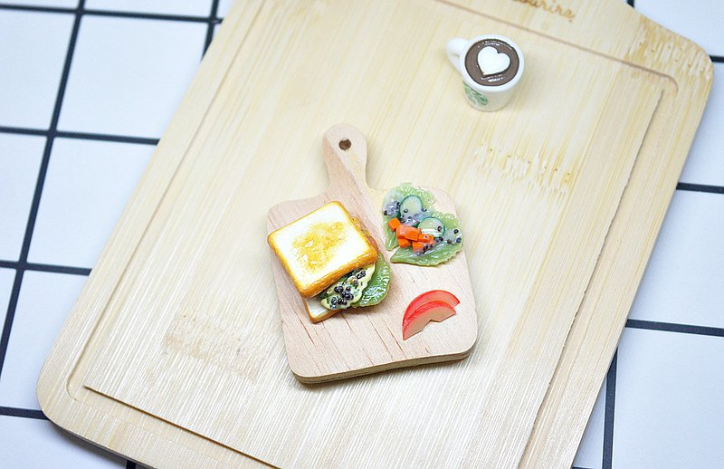 >>Clay Series-Toast Set-=>Magnet Series#Refrigerator Magnet#Fake Food