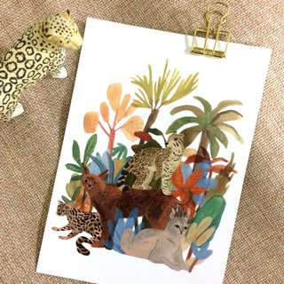 Go wild- Jungle leopard & big cats illustration postcard