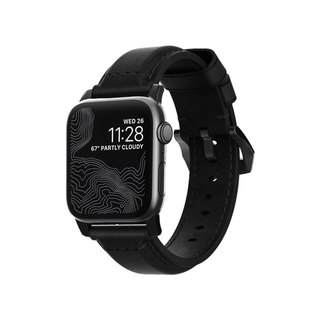 NOMAD Apple Watch special rustic black leather strap - classic black 42mm (855848007915