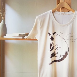 T SHIRT CREW NECK 100% COTTON HAND PRINT SIAMESE CAT.