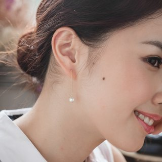 Cotton pearl earrings [needle long version earrings]