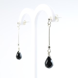 [] ColorDay black agate droplets _925 sterling silver earrings <Black Agate Silver Earring>