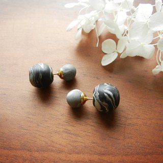 *coucoubird*dark grey soft mixed double-sided earrings / single