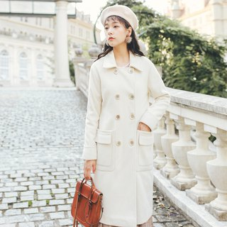 2018 autumn and winter ladies new double pocket cuffs long coat