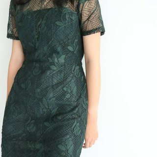 Pine Dress (dinner party for dresses, tailor-made loose green lace dress)