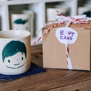 Brut Cake handmade ceramic – smiley face mug 240ml (12) , hand drawn face pottery cup. A great gift idea !