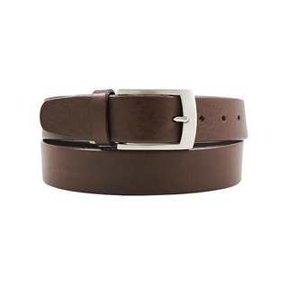 LAPELI │ Italian vegetable tanned leather male gentleman belt - micro fog silver long buckle dark coffee
