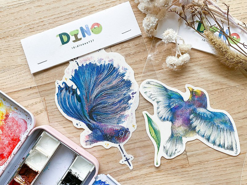 [Blue Purple Series] Hand-painted illustration tattoo stickers