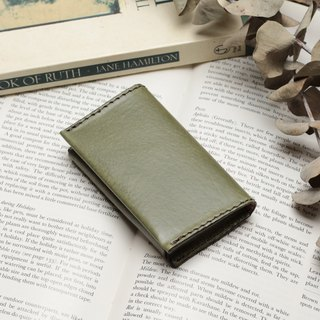 Retro morning tree green hand dyed yak leather handmade business card holder