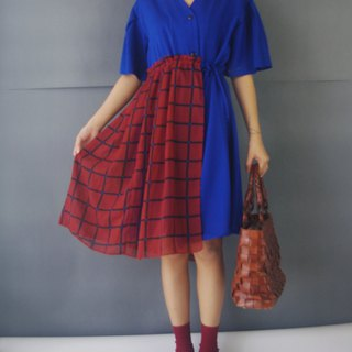 Handmade - Royal Blue V-neck Wide Sleeve Wrinkled Dress