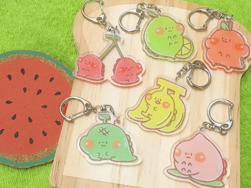 Dog clip star / original acrylic key ring / fruit dinosaur