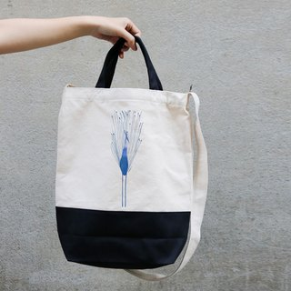 Dual black canvas bags │ mood blue water bird │Chien│