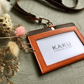 KAKU leather design identification card holder ID folder leisure card holder card holder orange