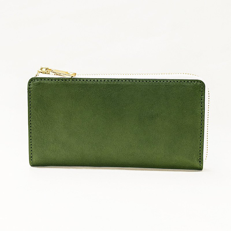 TIDY Tochigi leather L-shaped fastener long wallet Made in Japan Genuine leather Cowhide Name engraved Green White JAW017