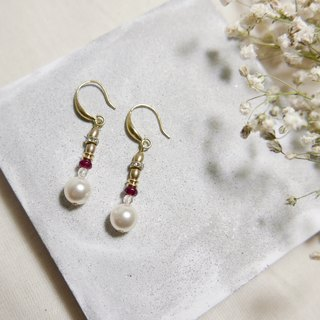 Classical light jewellery. Pendant pearl earrings. Ear hook