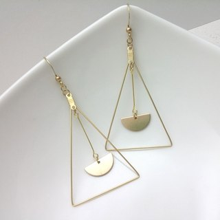 Brass earrings triangle triangular half ear hook