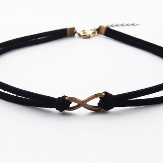 Brass Infinity black suede choker/necklace