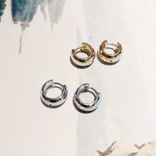 Basic small buckle - silver earrings earrings (pair)