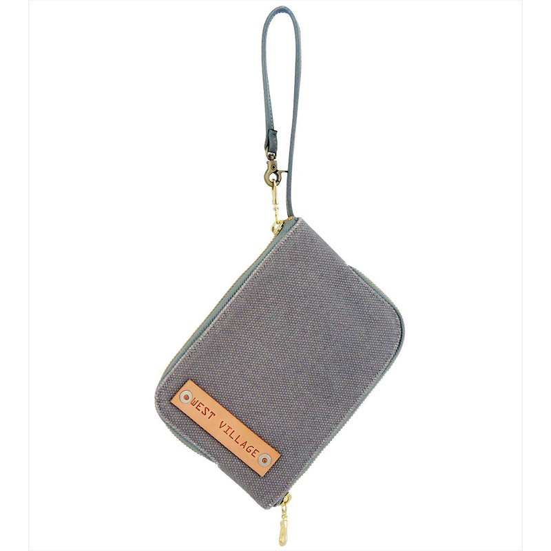 Canvas Double-Sided Zipper Bag / Double Face / Natural Canvas / Grey / S / Hand Limited