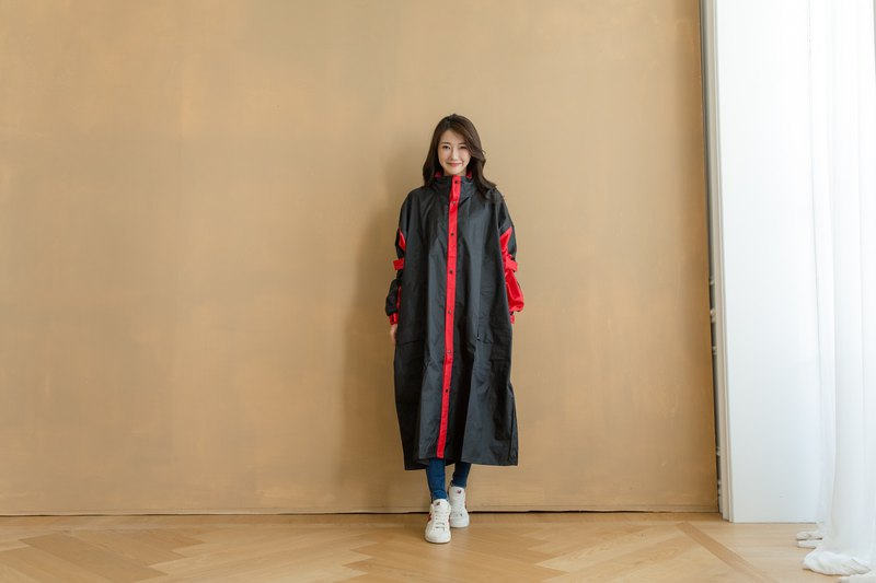 Relaxed front open one-piece raincoat - black/red