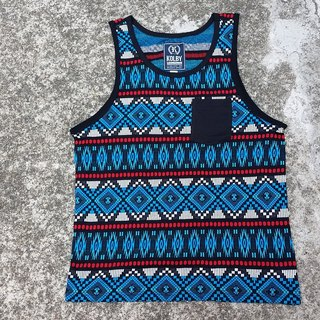 AMIN'S SHINY WORLD Featured national color threading elastic jacquard Nordic black blue totem vest