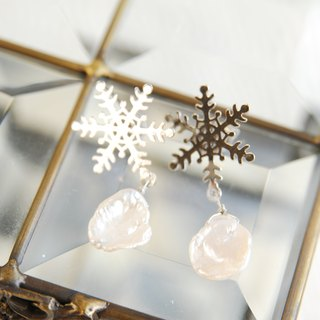 Snow crystal and Keshi pearl earrings