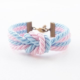Blue and pale pink double knot bracelet