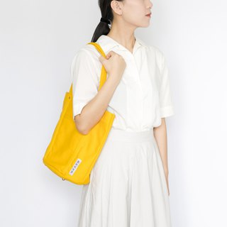 Simple canvas side backpack M-Temple yellow / handmade single shoulder tote bag / super storage finishing inside bag