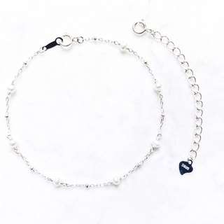 :: Sun & Moon Series :: Mini Pearl Silver Ball Bracelet/Anklet/Double-Use Chain