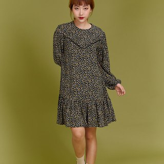 Flower frill dress (Black/Yellow)