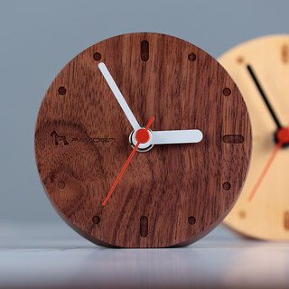 Nordic style table clock round [Walnut] log clock wall clock