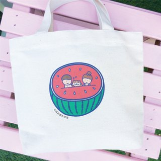 Watermelon の daily canvas bag (lunch bag) double cup drink bag hand-printed Canvas bag