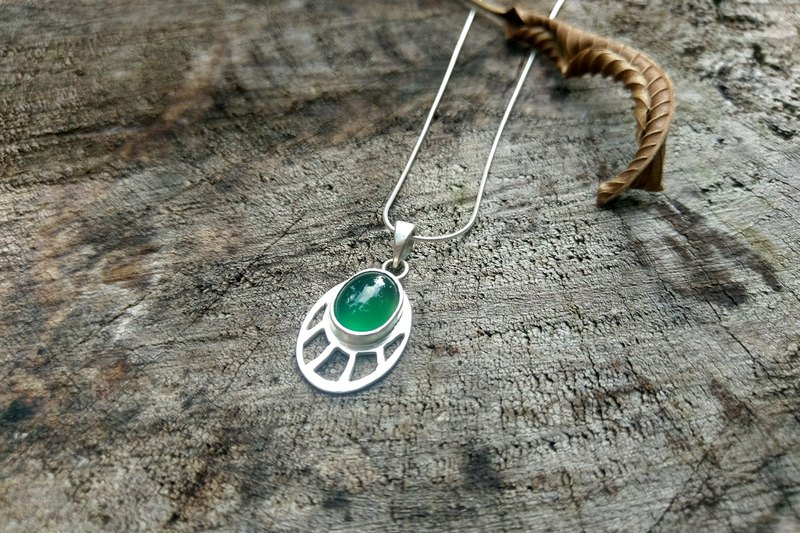 Empty Green ghost necklace necklace