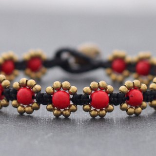 Coral Red Stone Daisy Beads Bracelets, Woven Beaded Brass Cute Flower Braided Bracelets