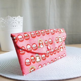 Lovely Japanese cloth [Q version civet cat Fushen red bag, pink] passbook sleeve, cash storage bag