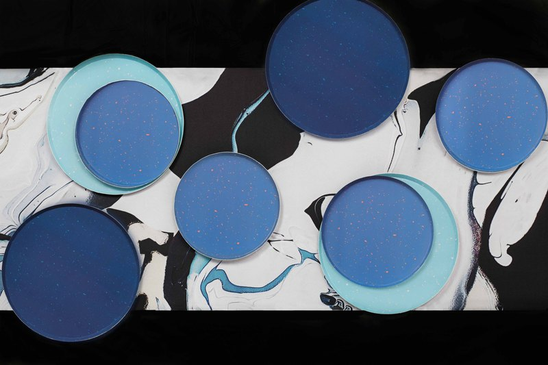 Party paper tray blue stone 9 inch disc