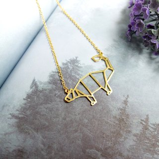Ankylosaurus,Origami, Dinosaur Necklace, Gold plated Necklace, Dinosaur Gifts