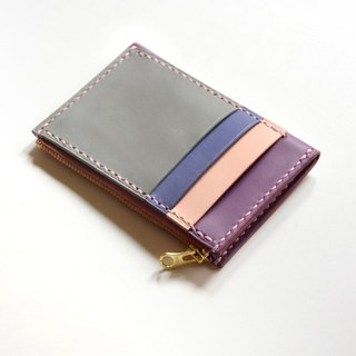 Fading Mist Leather 3-Card Slots Zipper Wallet