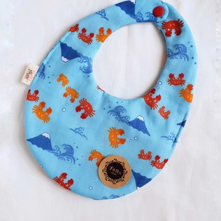 Crab Mt. Fuji - Blue - Eight Layers 100% Cotton Double Sided Egg Bib. Saliva Towel