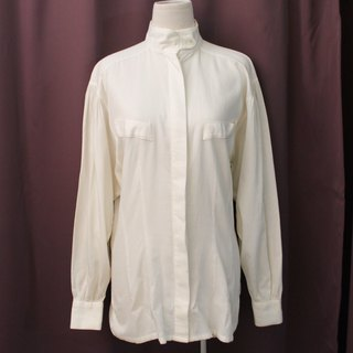 Vintage European Simple Special Cut Beige Long Sleeve Vintage Shirt Vintage Blouse